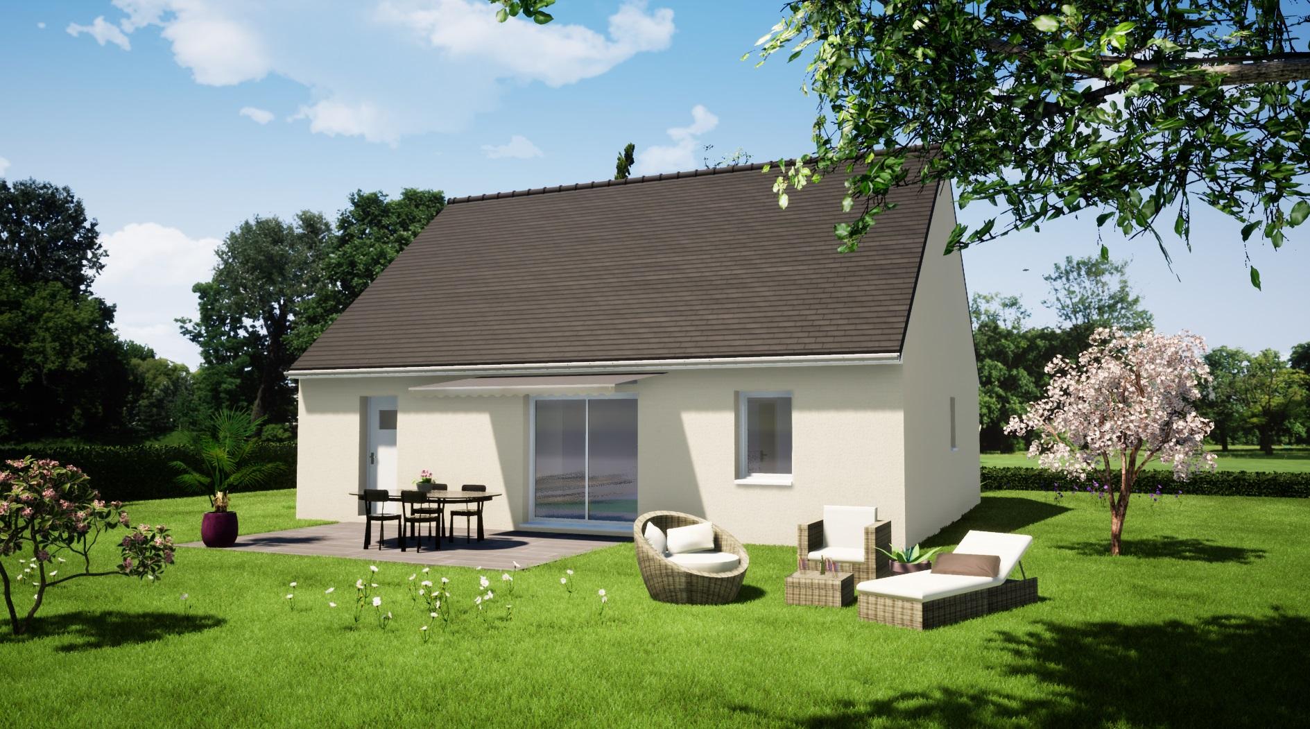 maison 2 chambres + garage plain pied maison lg en sarthe le mans, maison pas cher plan arriere