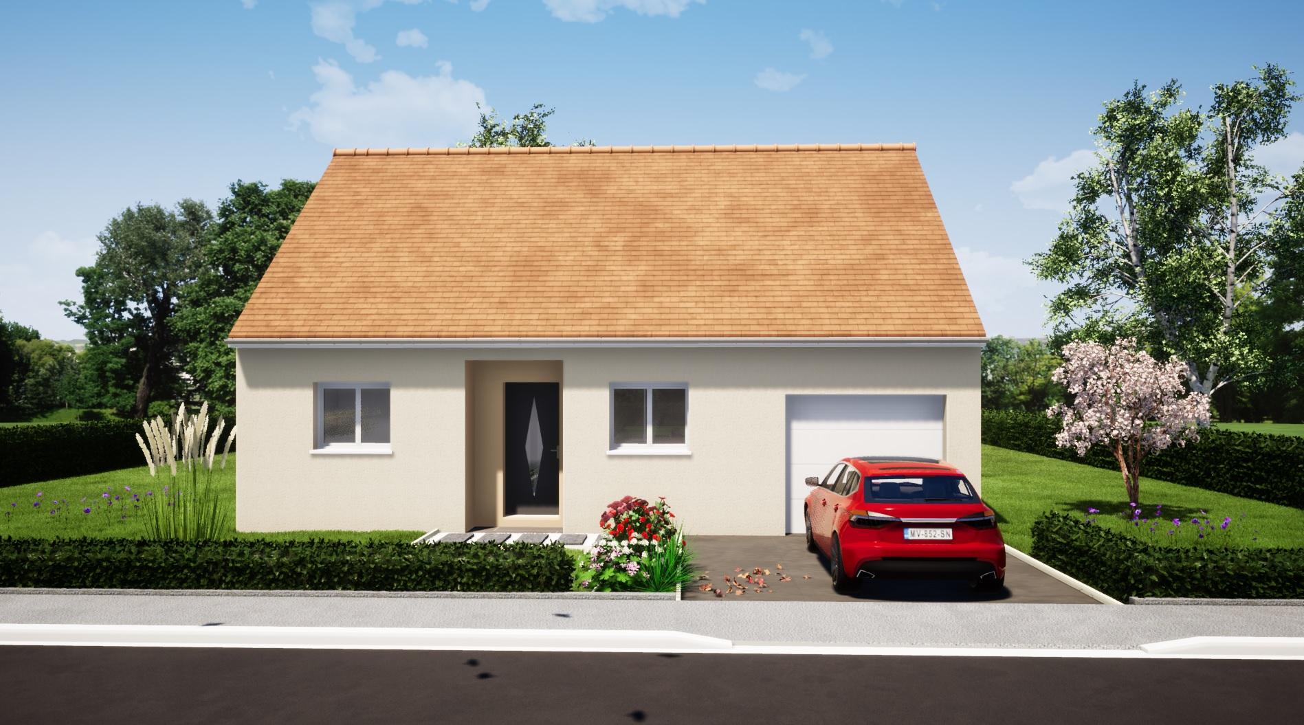 maison 2 chambres + garage plain pied maison lg en sarthe le mans, maison pas cher plan avant moncé en belin