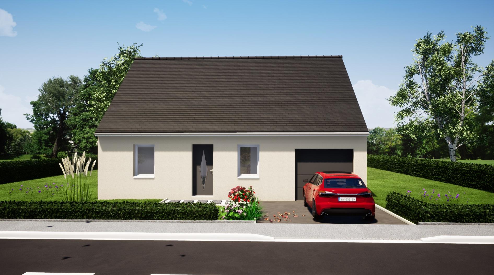 maison 2 chambres + garage plain pied maison lg en sarthe le mans, maison pas cher plan avant