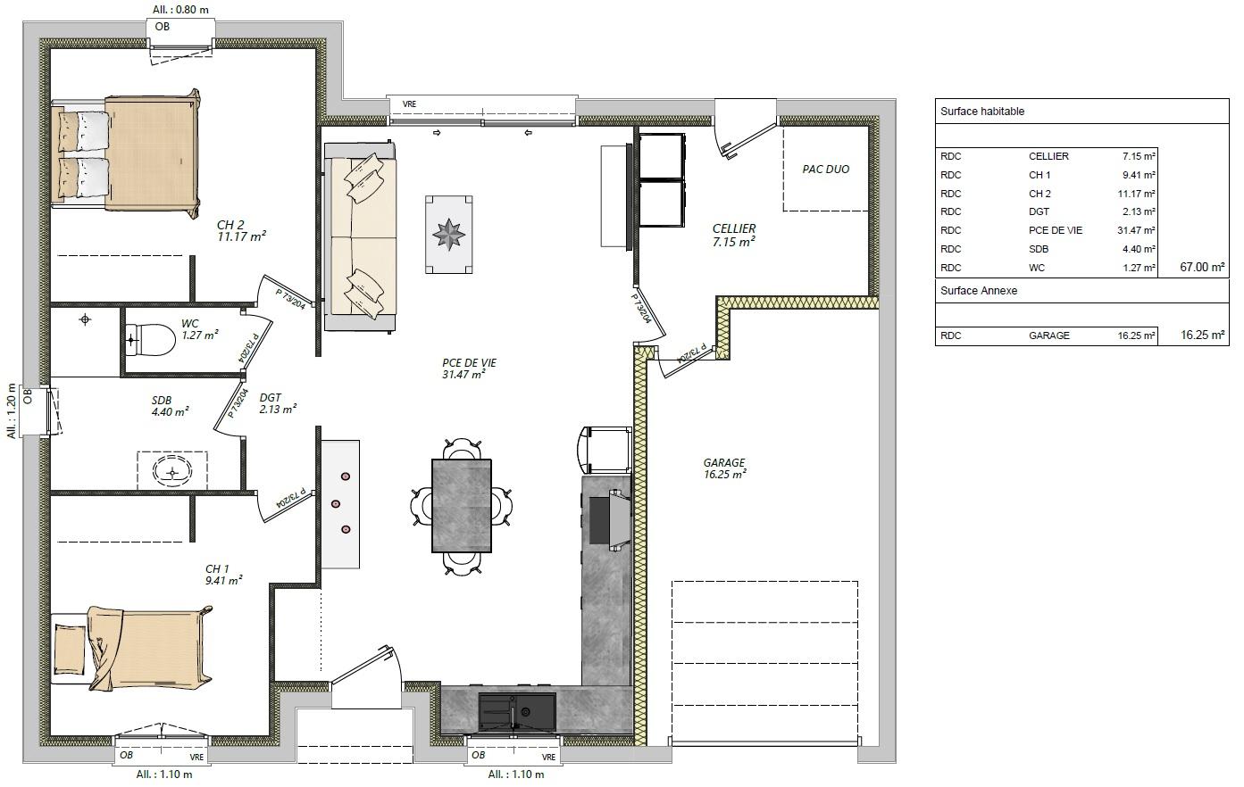 maison 2 chambres + garage plain pied maison lg en sarthe le mans, maison pas cher plan rdc moncé en belin