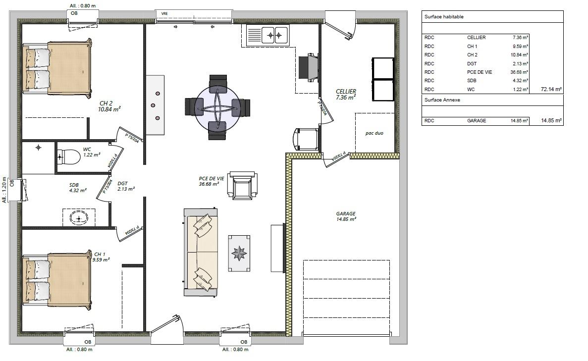 maison 2 chambres + garage plain pied maison lg en sarthe le mans, maison pas cher plan