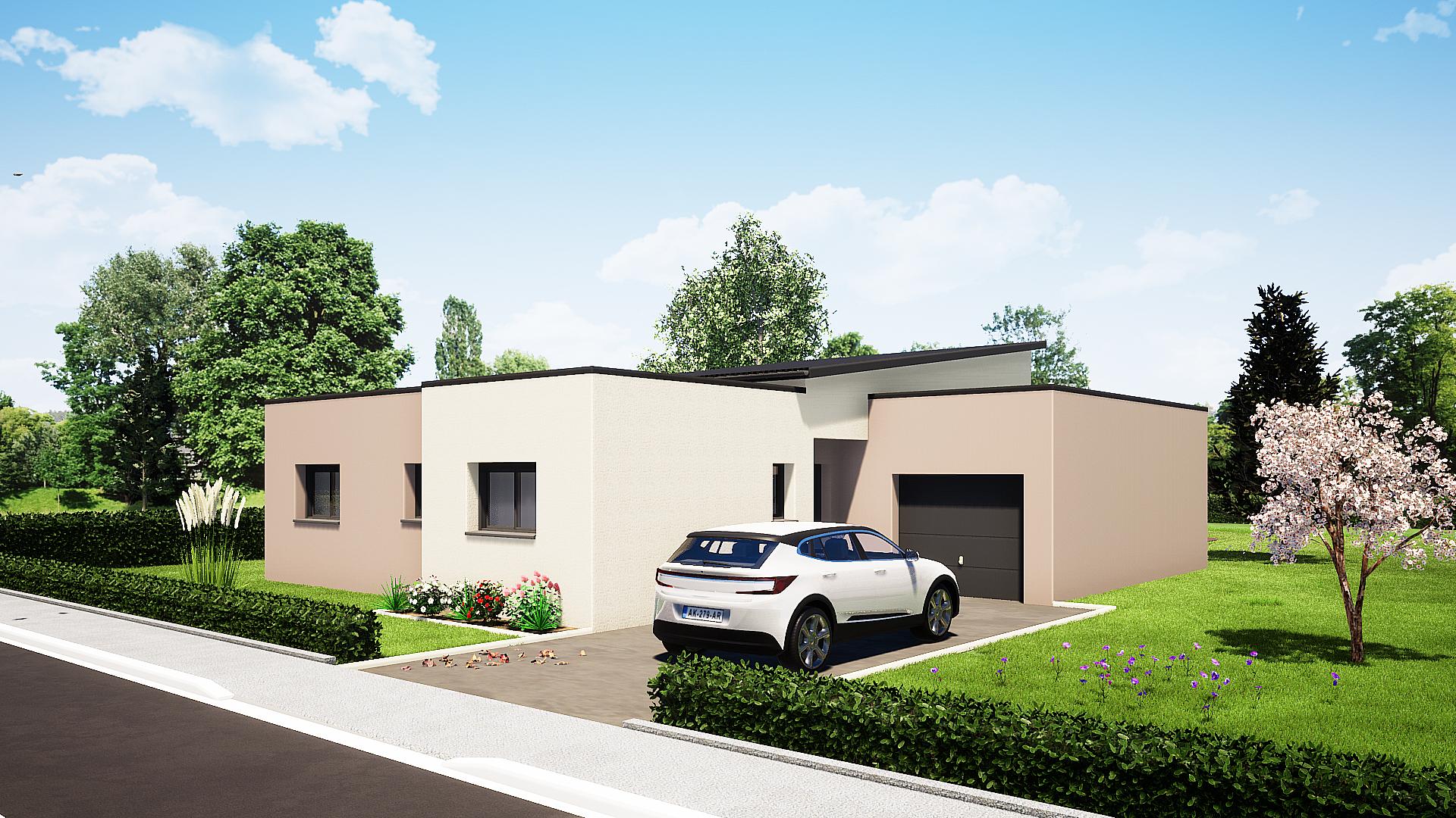 maison plain pied 3 chambres maison moderne maison contemporaine constructeur maisons lg en Sarthe Le Mans maison RE 2020 plans maison rez-de-chaussée avant