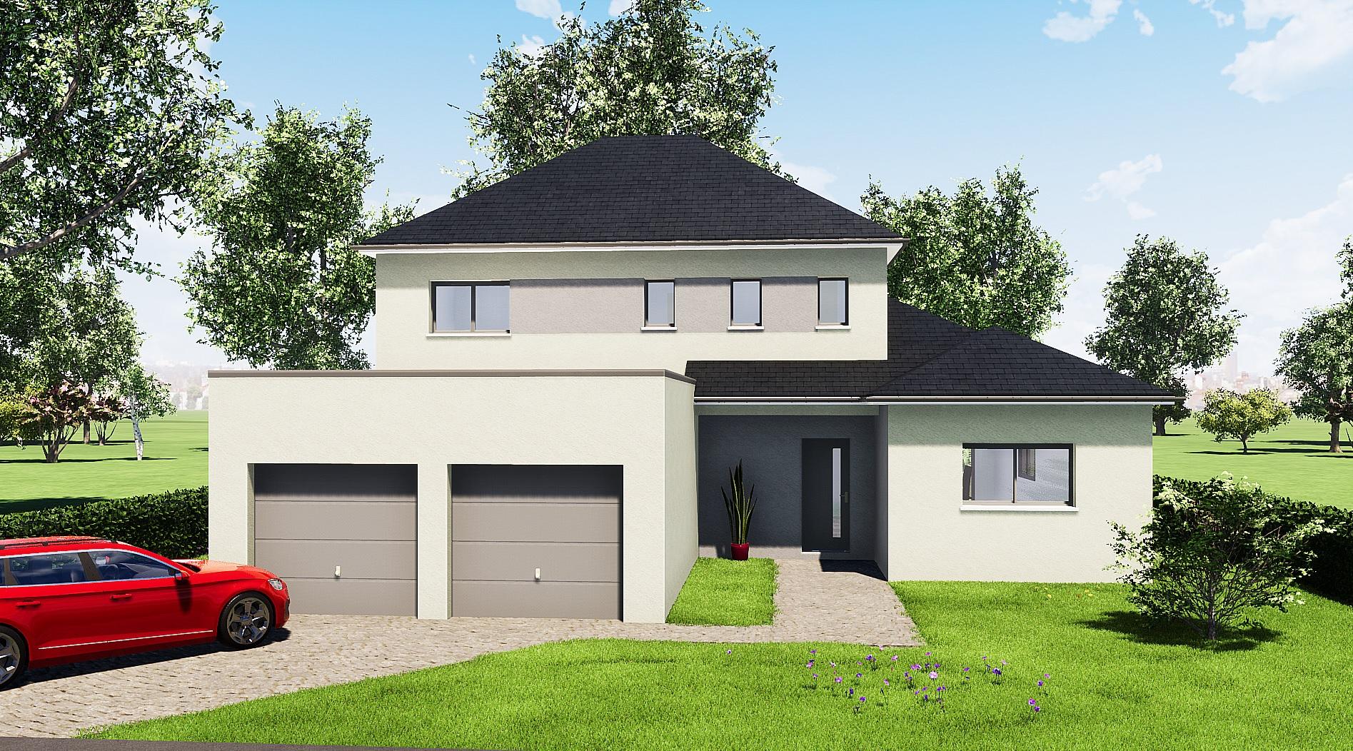 plan rdc maison r+1 moderne 5 chambres le mans 72000 Sarthe constructeur maisons individuelles avant