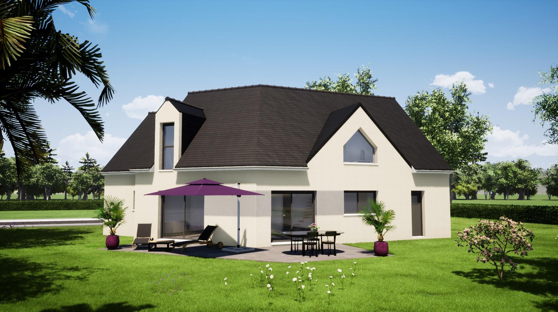Maisons LG 3 chambres étage contemporaine Aigné 72650 façade arrière