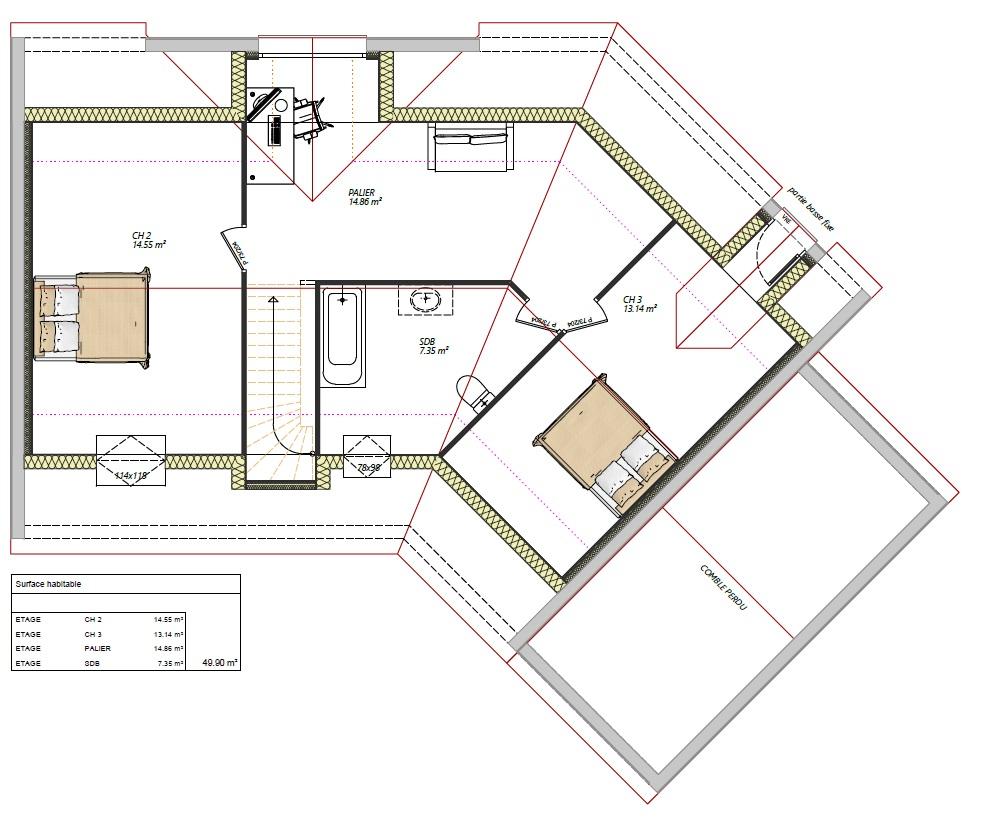 Maisons LG 3 chambres étage contemporaine Aigné 72650 étage