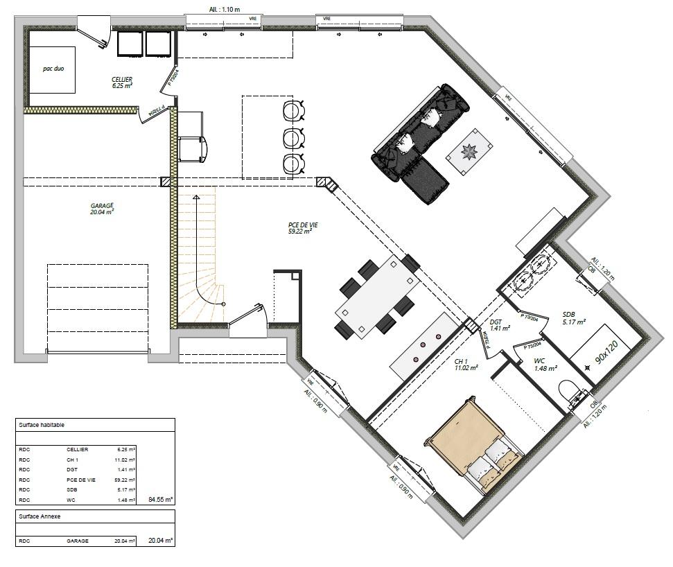Maisons LG 3 chambres étage contemporaine Aigné 72650 RDC