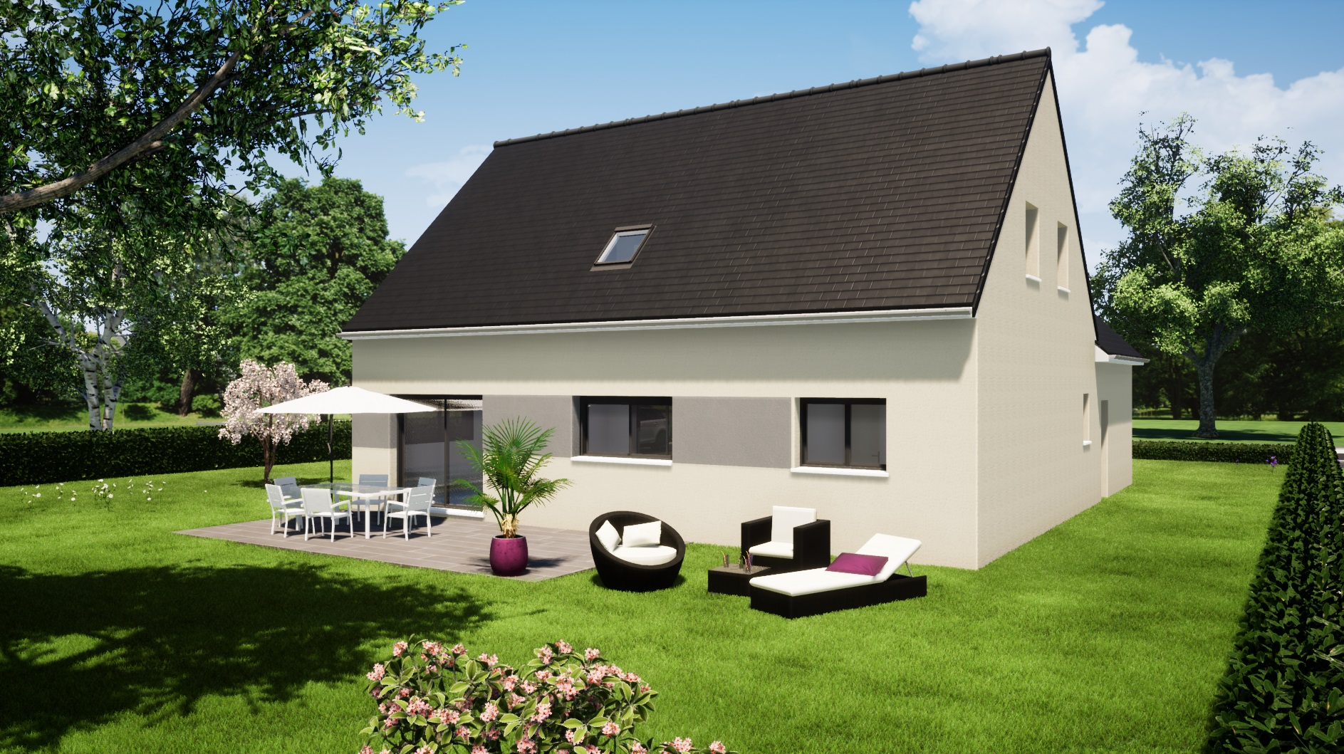 Modèle Fercé sur sarthe 72430 façade arrière maison étage 3 chambres + mezzanine constructeur maison le mans constructeur maison en sarthe maisons LG