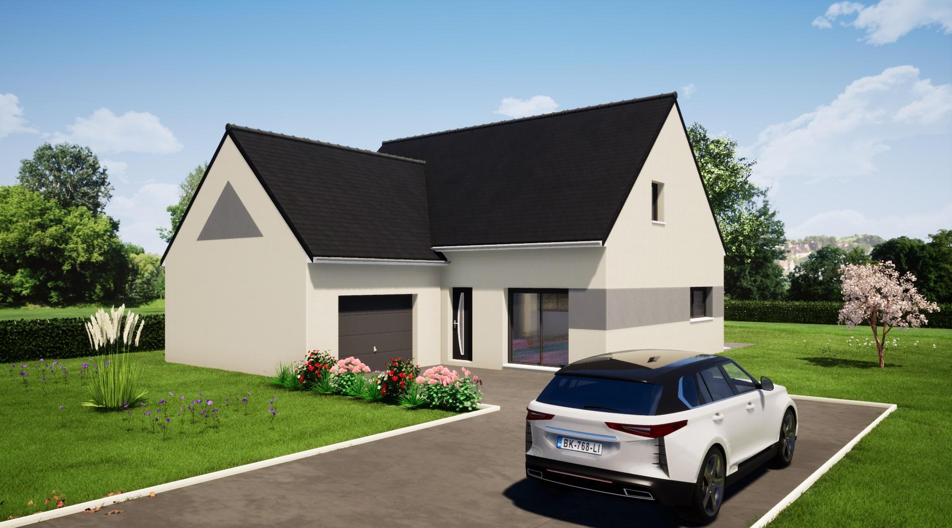 Modèle Fercé sur sarthe 72430 façade avant maison étage 3 chambres + mezzanine constructeur maison le mans constructeur maison en sarthe maisons LG
