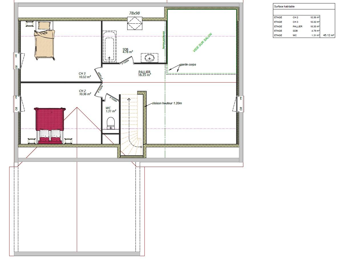 Modèle Fercé sur sarthe 72430 plan étage maison étage 3 chambres + mezzanine constructeur maison le mans constructeur maison en sarthe maisons LG