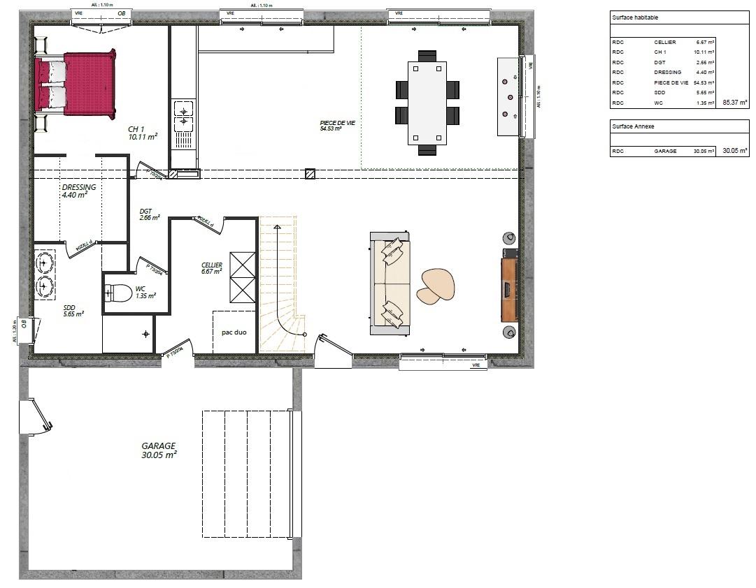 Modèle Fercé sur sarthe 72430 plan rdc maison étage 3 chambres + mezzanine constructeur maison le mans constructeur maison en sarthe maisons LG