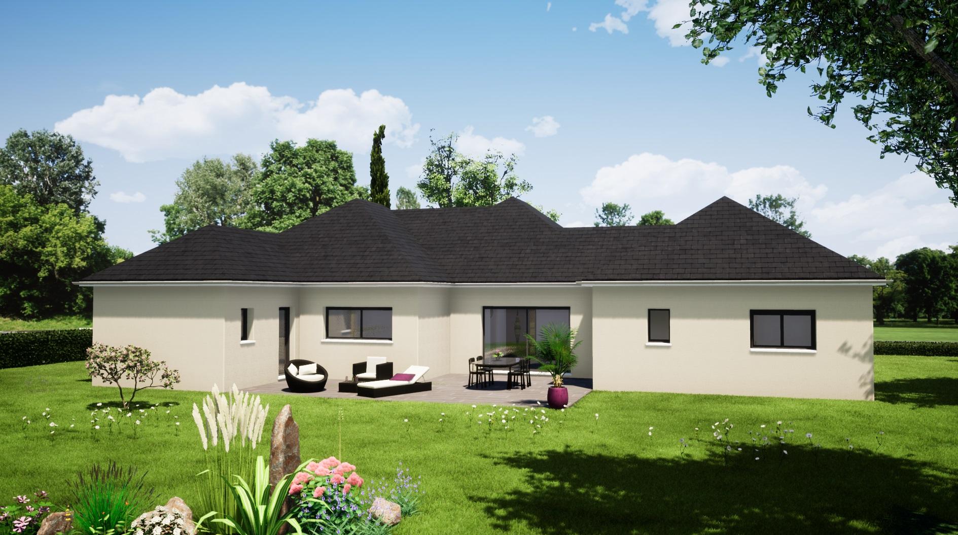Modèle Vibraye 72320 façade avant maison plain pied 4 chambres constructeur maison le mans constructeur maison en sarthe maisons LG