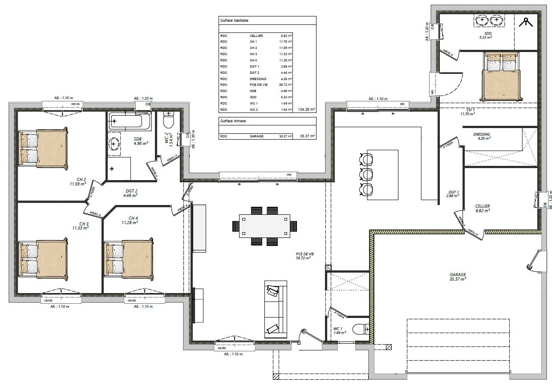 Modèle Vibraye 72320 façade plan rdc maison plain pied 4 chambres constructeur maison le mans constructeur maison en sarthe maisons LG
