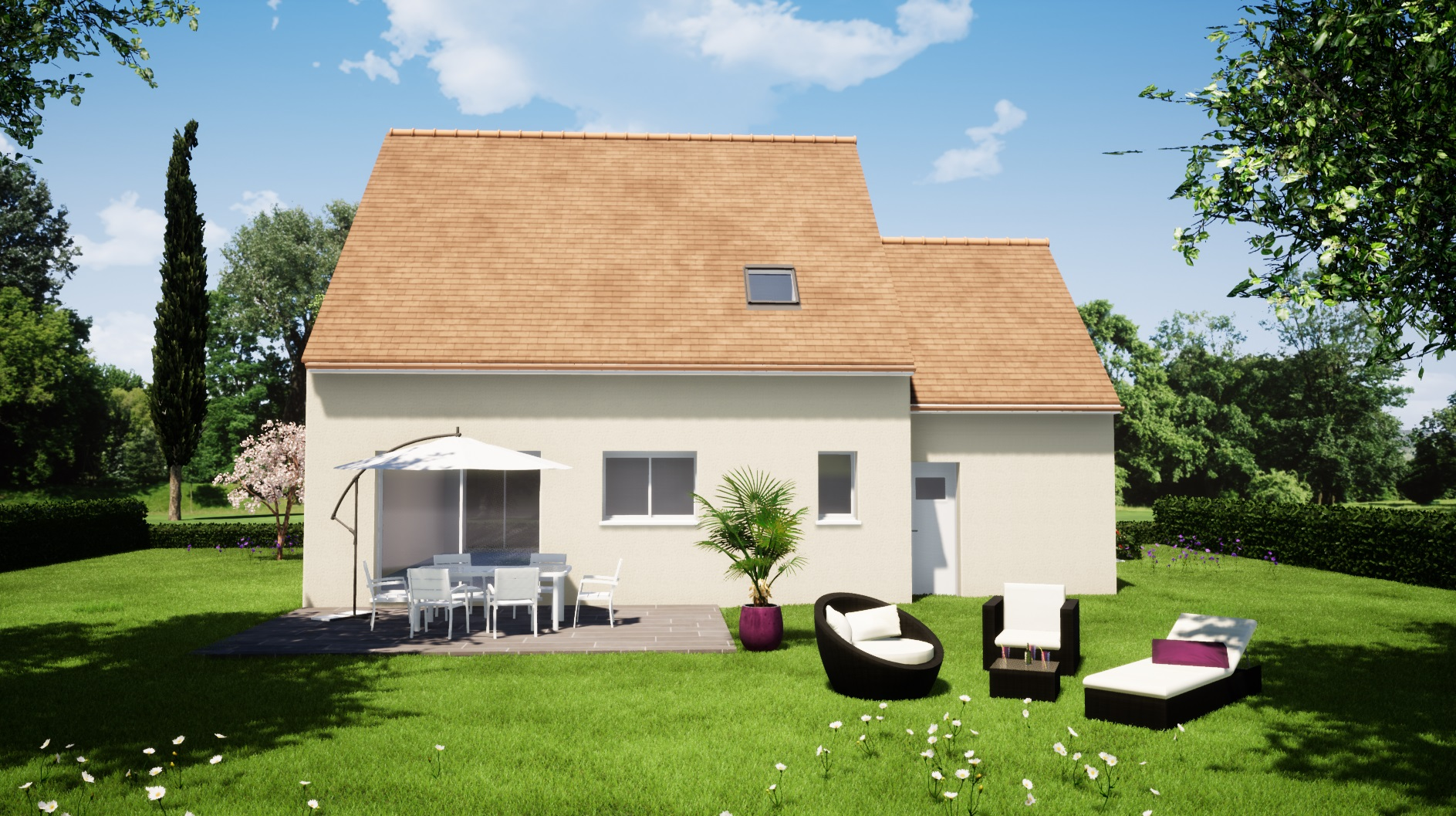 Modèle guécélard 72230 arrière maison 4 chambres constructeur maison le mans constructeur maison en sarthe maisons LG