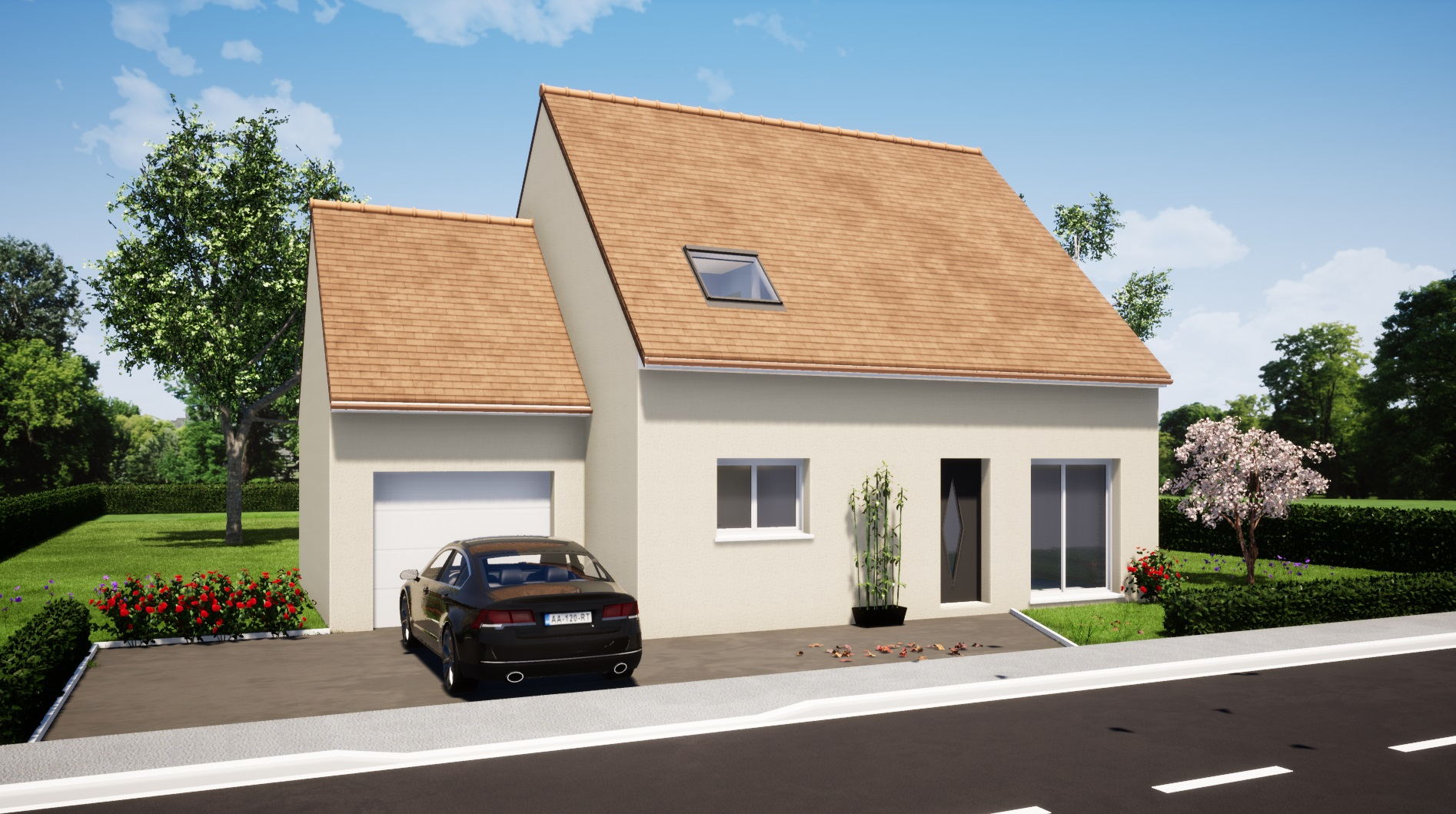 Modèle guécélard 72230 avant maison 4 chambres constructeur maison le mans constructeur maison en sarthe maisons LG
