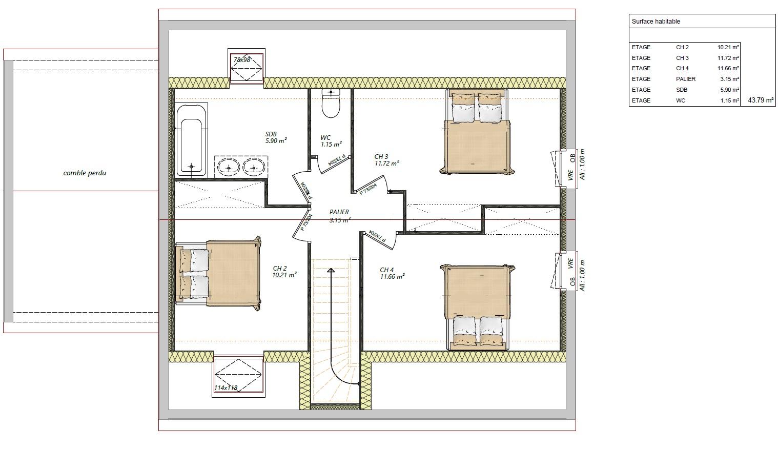 Modèle guécélard 72230 plan étage maison 4 chambres constructeur maison le mans constructeur maison en sarthe maisons LG