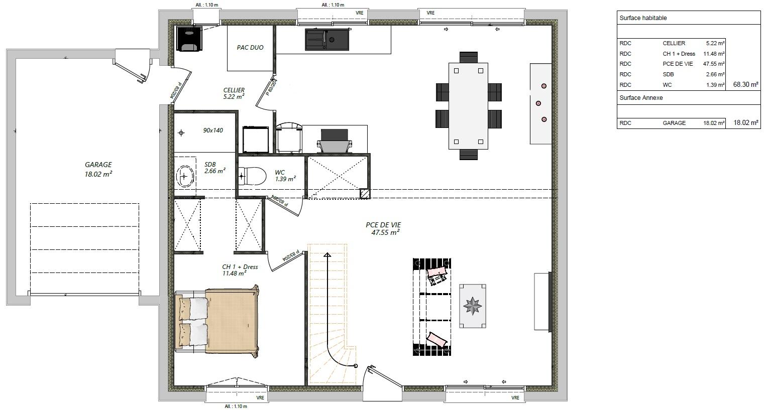 Modèle guécélard 72230 plan rez-de-chaussé maison 4 chambres constructeur maison le mans constructeur maison en sarthe maisons LG