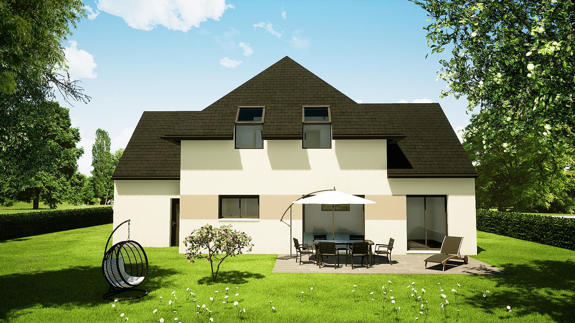 Modèle maisons Brette-les-pins 72250 façade arrière maison semi R+1 4 chambres constructeur maison le mans constructeur maison en sarthe maisons LG