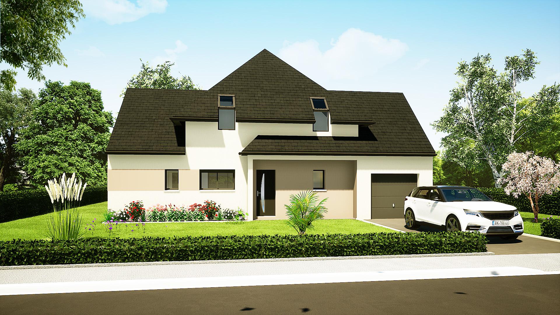 Modèle maisons Brette-les-pins 72250 façade avant maison semi R+1 4 chambres constructeur maison le mans constructeur maison en sarthe maisons LG