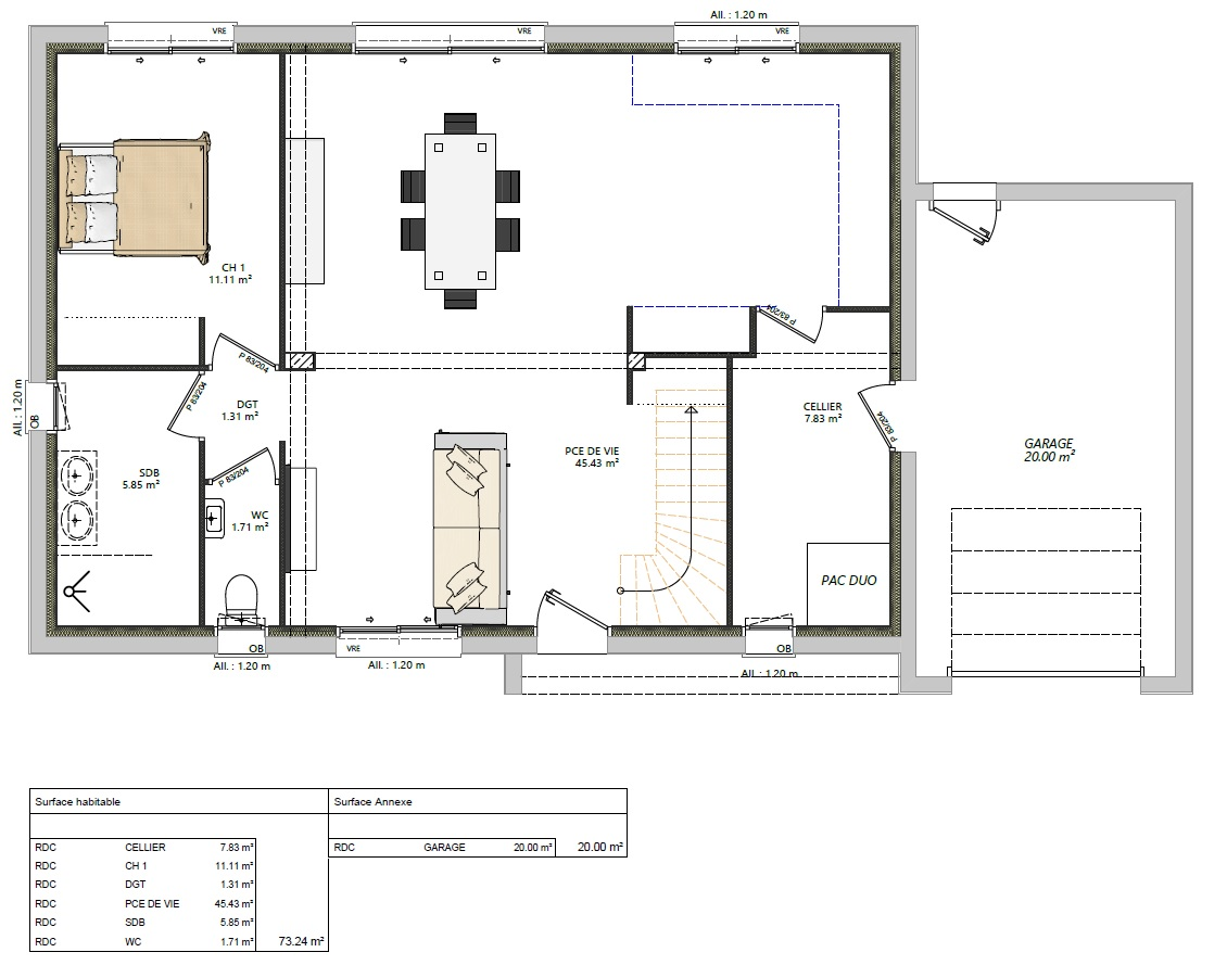 Modèle maisons Brette-les-pins 72250 plan RDC maison semi R+1 4 chambres constructeur maison le mans constructeur maison en sarthe maisons LG