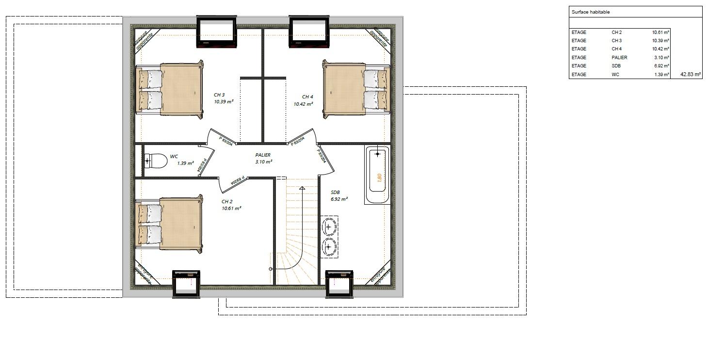 Modèle maisons Brette-les-pins 72250 plan étage maison semi R+1 4 chambres constructeur maison le mans constructeur maison en sarthe maisons LG