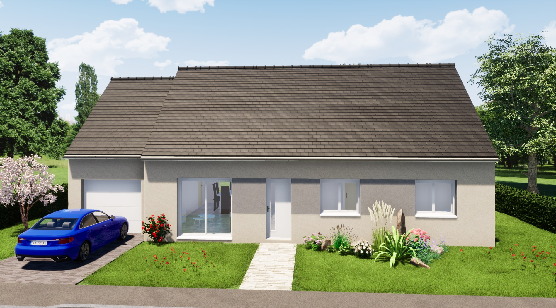 maison R+1 3 chambres maison moderne maison contemporaine constructeur maisons lg en Sarthe Le Mans maison RE 2020 plans maison rez-de-chaussée arrière