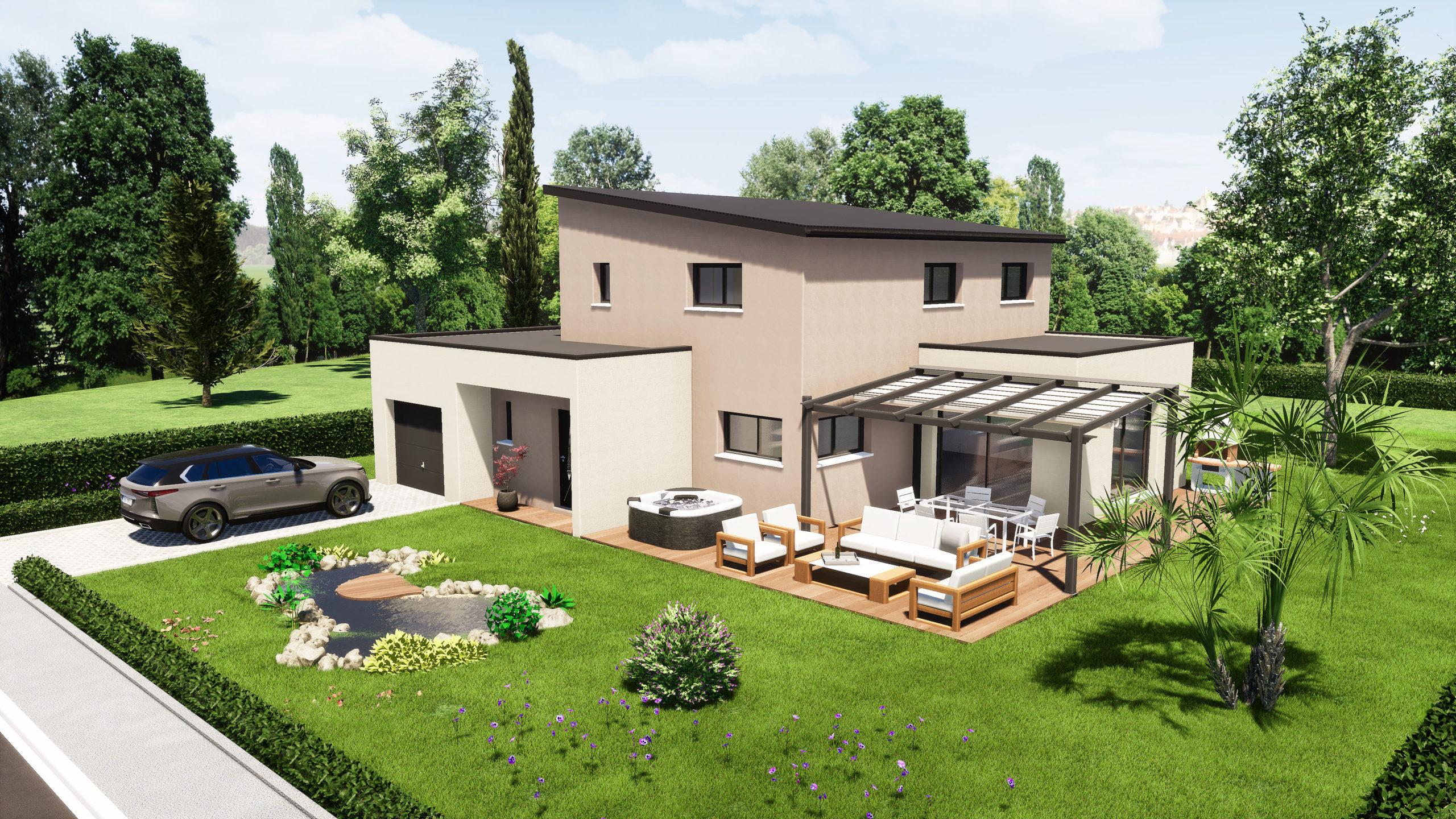 Modèle maisons Sargès-les-le-Mans 72190 façade arrière 2 maison R+1 5 chambres constructeur maison le mans constructeur maison en sarthe maisons LG