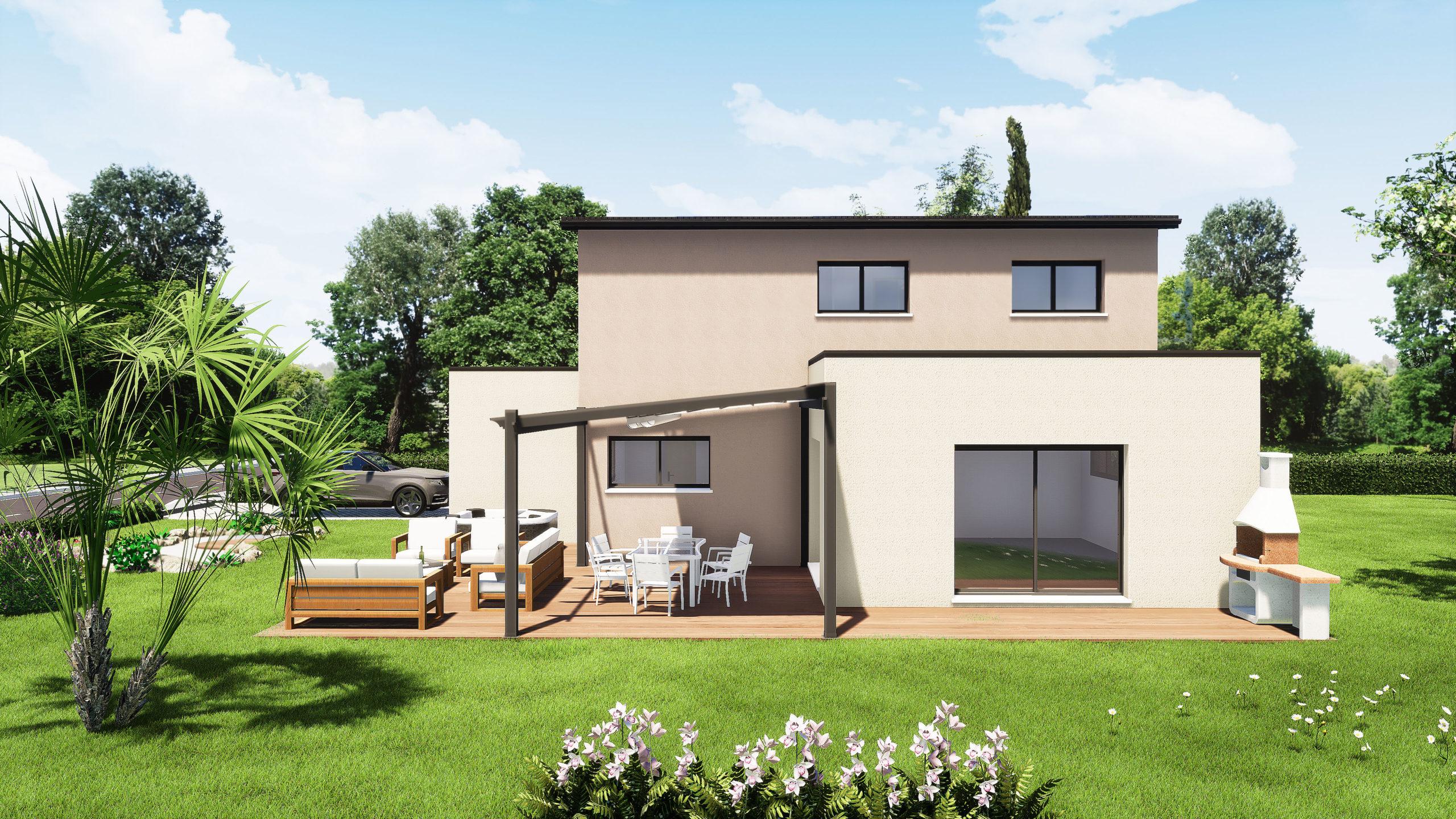 Modèle maisons Sargès-les-le-Mans 72190 façade arrière maison R+1 5 chambres constructeur maison le mans constructeur maison en sarthe maisons LG