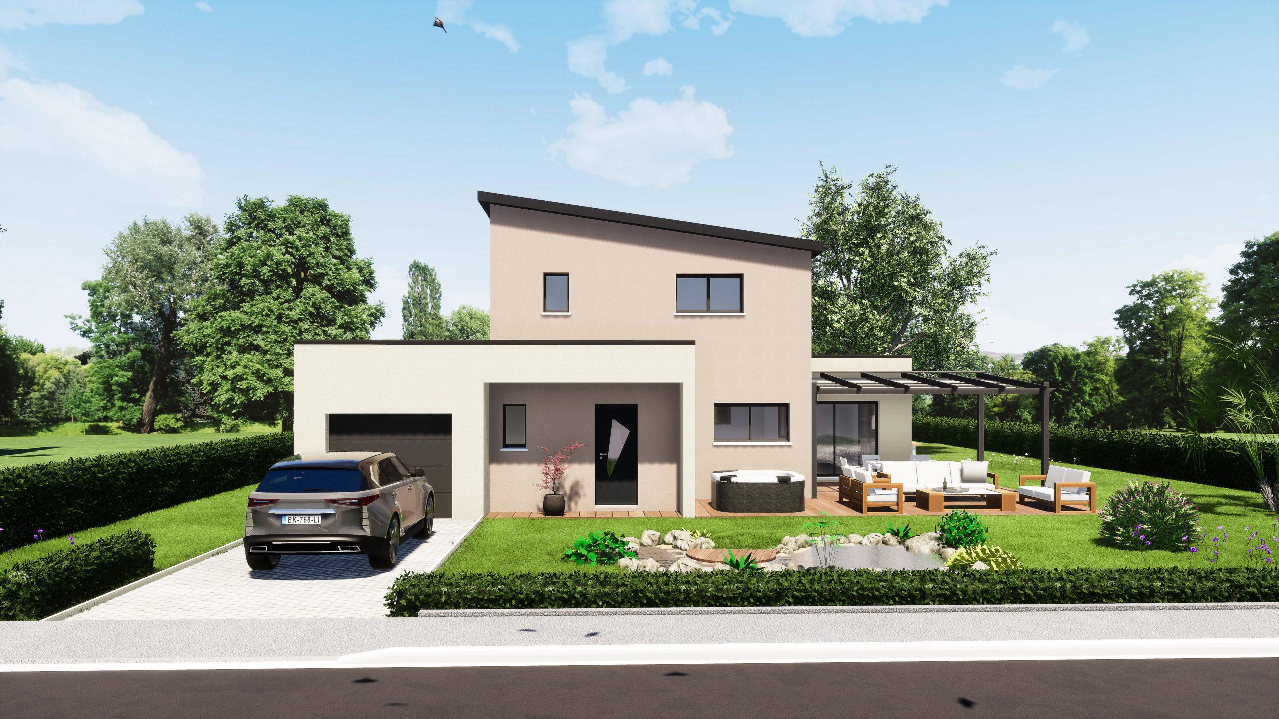 Modèle maisons Sargès-les-le-Mans 72190 façade avant maison R+1 5 chambres constructeur maison le mans constructeur maison en sarthe maisons LG