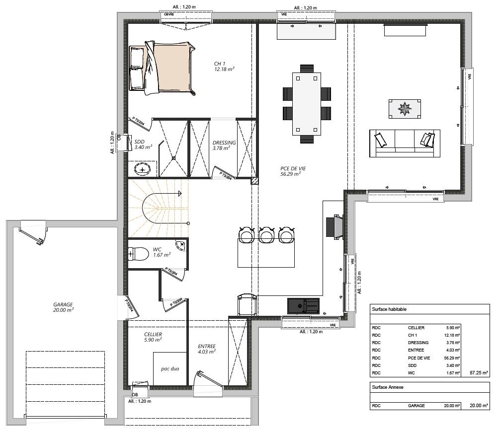 Modèle maisons Sargès-les-le-Mans 72190 plan RDC 2 maison R+1 5 chambres constructeur maison le mans constructeur maison en sarthe maisons LG