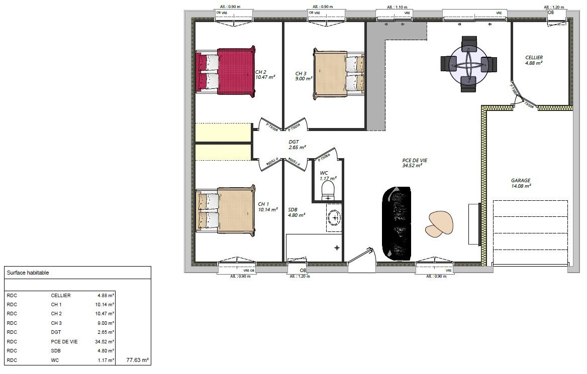 maison plain pied 3 chambres maison moderne maison contemporaine constructeur maisons lg en Sarthe Le Mans maison RE 2020 plans maison rez-de-chaussée