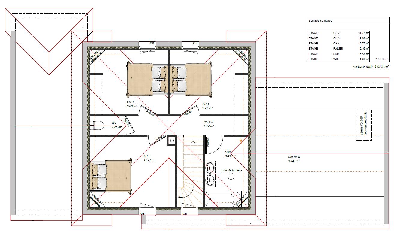plan maison semi R+1 4 chambres maisons lg le mans maisons lg en sarthe constructeur de maison individuelle maison Sillé-le-philippe 2 plan étage