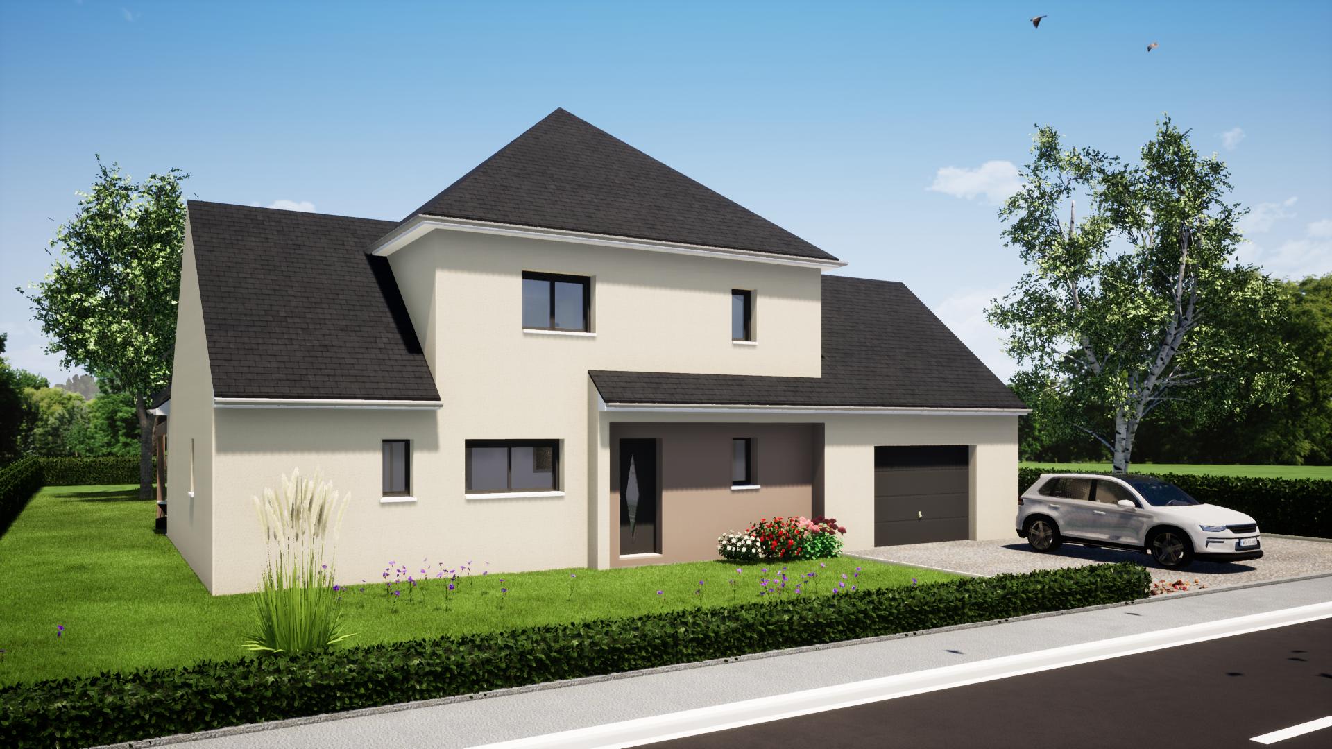 plan maisonR+1 4 chambres maisons lg le mans maisons lg en sarthe constructeur de maison individuelle maison Sillé-le-philippe avant
